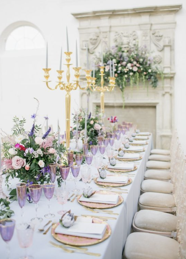 Ultra Violet Water Glasses for Wedding Breakfast styling